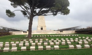 Lone Pine-- Monument to Australian soldiers with bleachers set up for 100th anniversary of battle